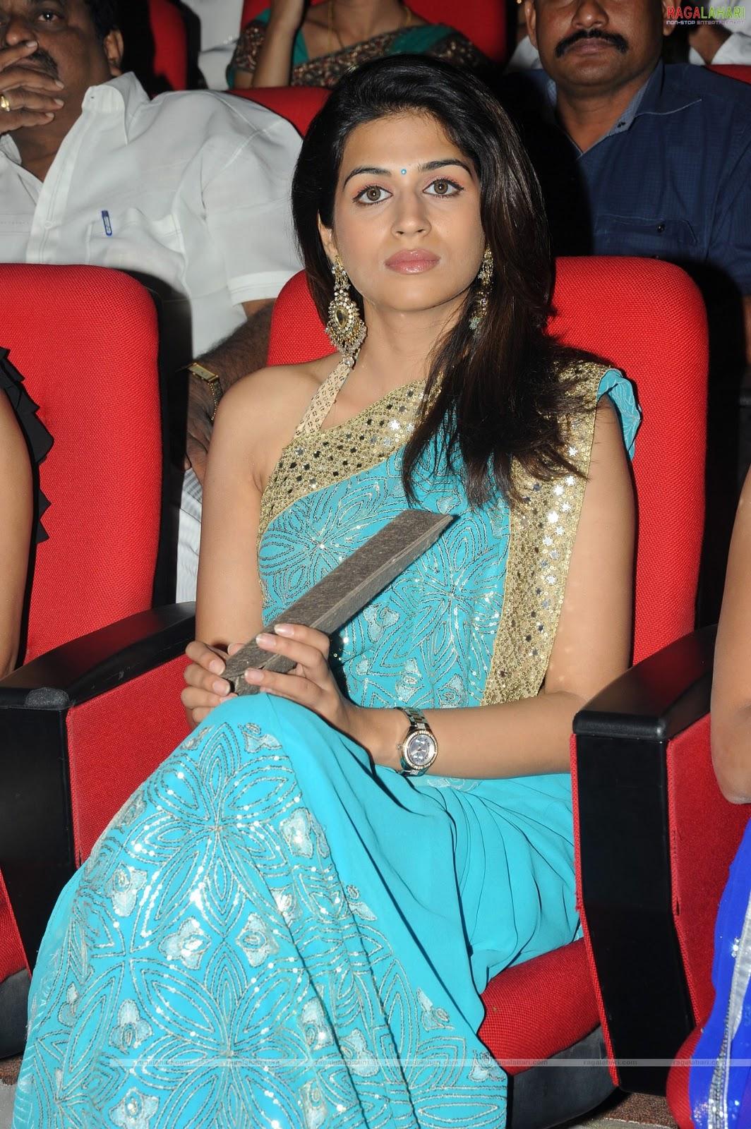 , Hot Sradha Das in Saree at Nagavalli Audio Launch