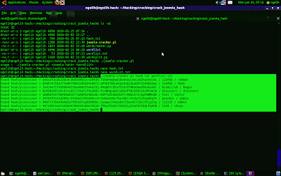 Hasil Dari Menjalankan Cracker Joomla Password
