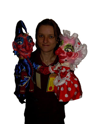 Eloise O'Hare with Mr Punch and Judy