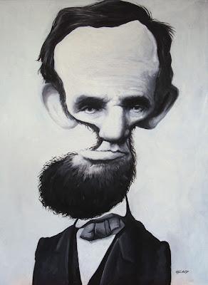 Caricatura Abraham Lincoln em óleo