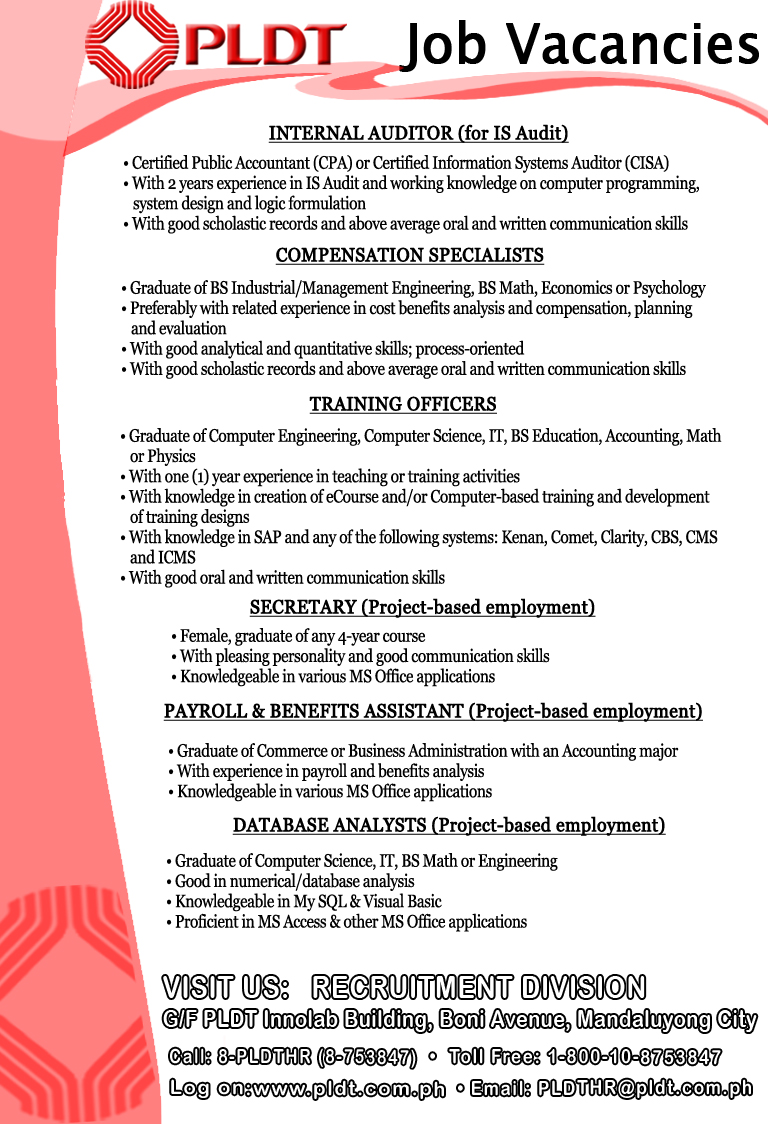 pldt career opportunities job hiring in davao city and nearest