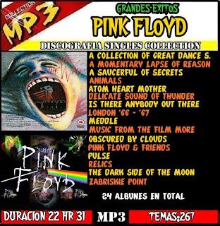 TITULO Pink Floyd MP3 COLLECTION GENERO DISCOGRAFIA CANCIONES267 DURACION22 HORAS 31 Y MINUTOS FORMATO CALIDAD 128 KBPS ENTRA EN UN CD DE 700 MG