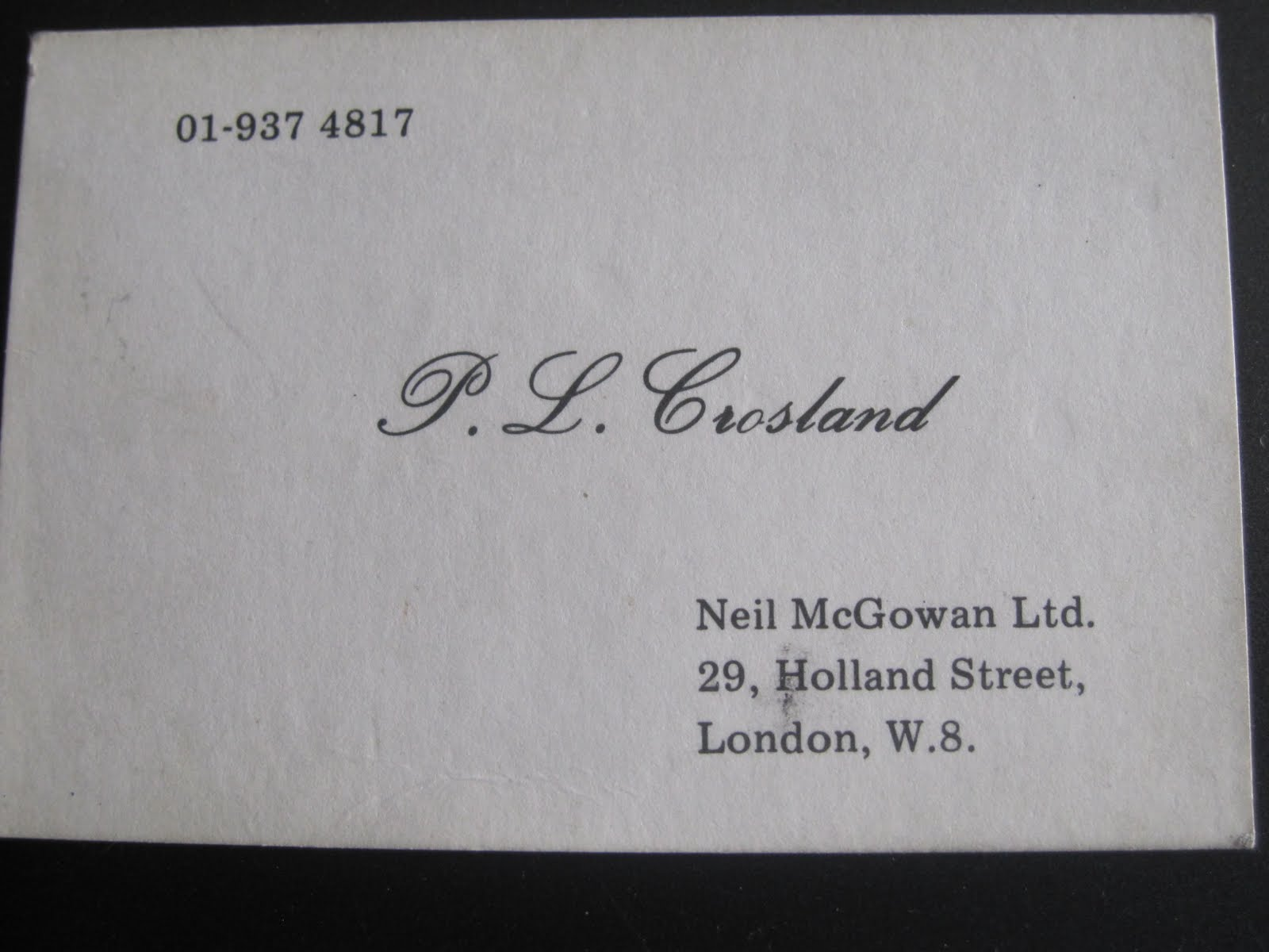 Family affairs july 2010 one day i will write the story of crosland and pickstone ltd for now here ia a copy photo of dads business card when he lived in london midweek and ran reheart Choice Image