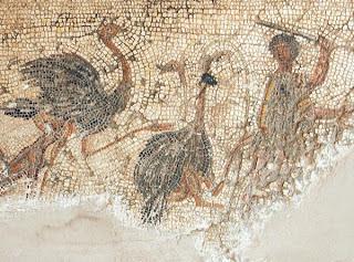 killing ostriches on the zliten mosaic tattoo