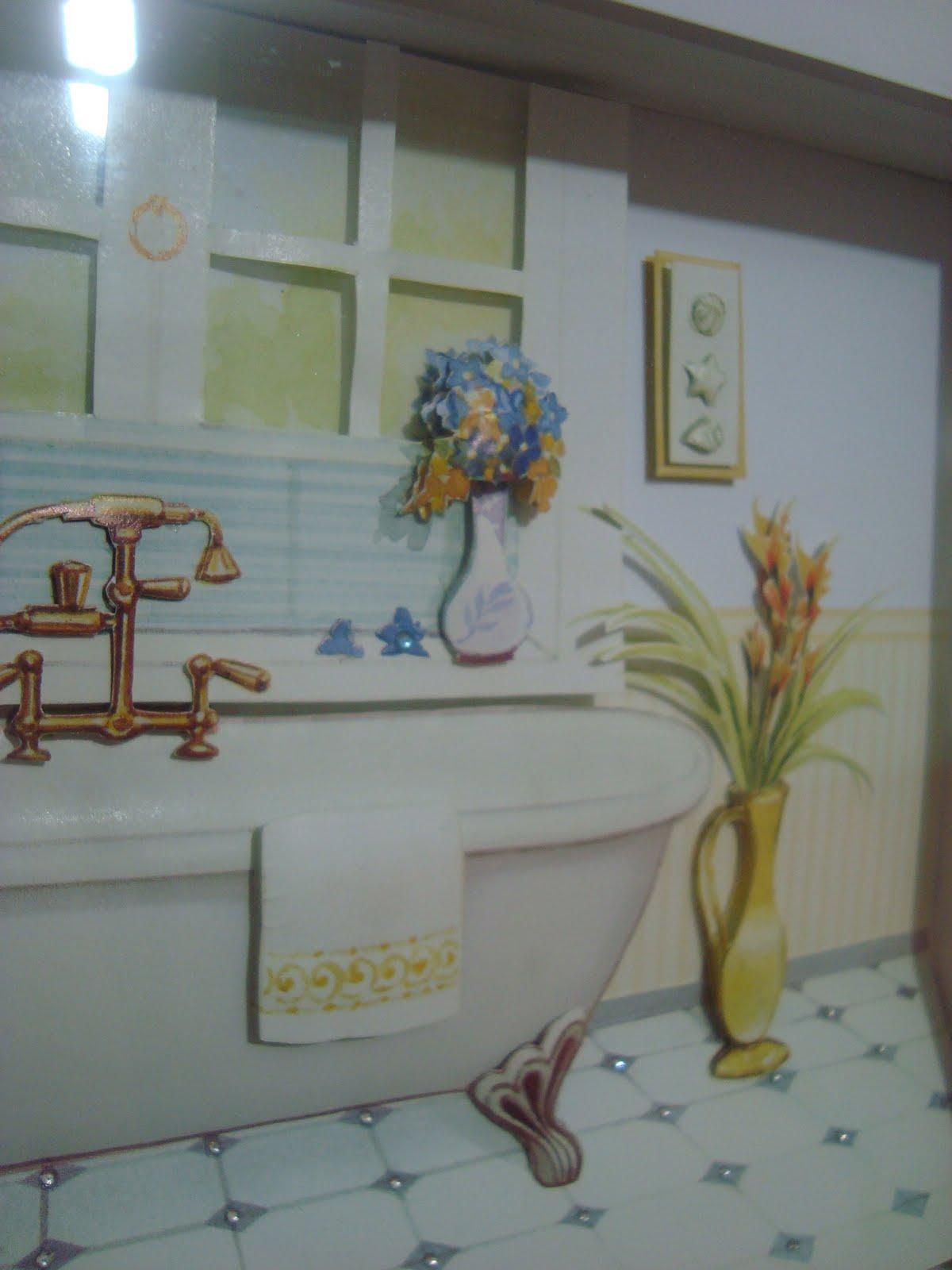 #2D779E PATYWORK: Quadro para Lavabo ou Banheiro em Arte Francesa 1418 Quanto Custa Uma Janela De Aluminio Para Quarto