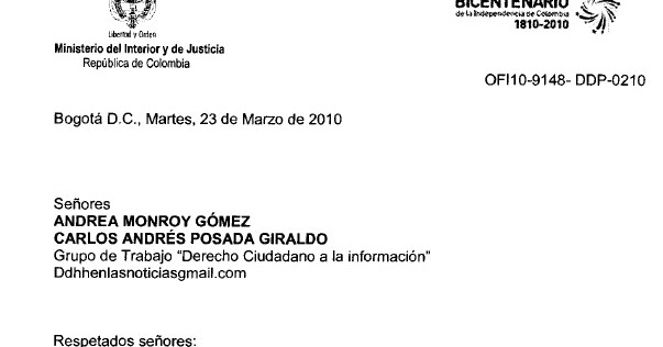 Derecho ciudadano a la informaci n ministerio del interior responde petici n presentada por - Ministerio del interior y justicia ...