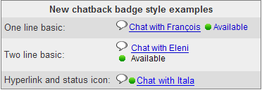 Creates Google Talk Chatback Badges in New Styles.