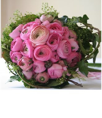 Pink Ranunculus with Candy Heart Filler Centerpiece