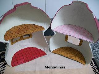 >>>>>    CASITA DE MUÑECAS EN PAPEL MACHE Seta+pintada+por+dentro