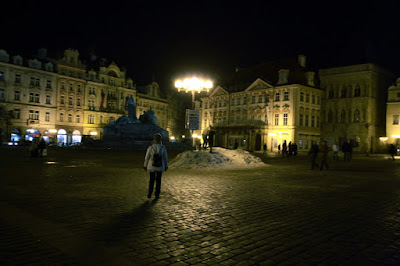 Prague - Chair, snow and Old town square
