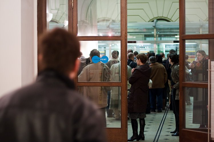 People waiting with tax declarations in Jindrisska post office, Prague