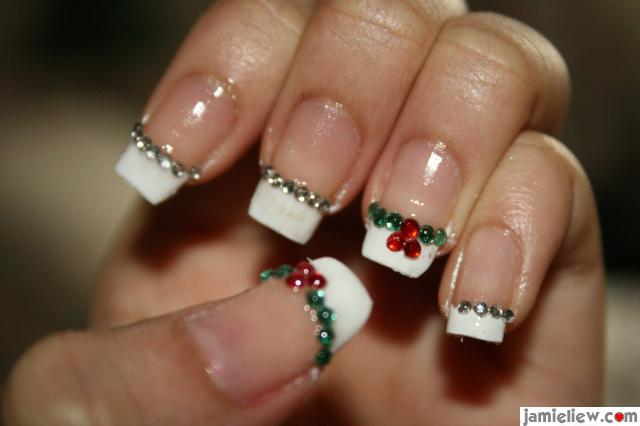 French Manicure Nail Art Designs with jewelry stones