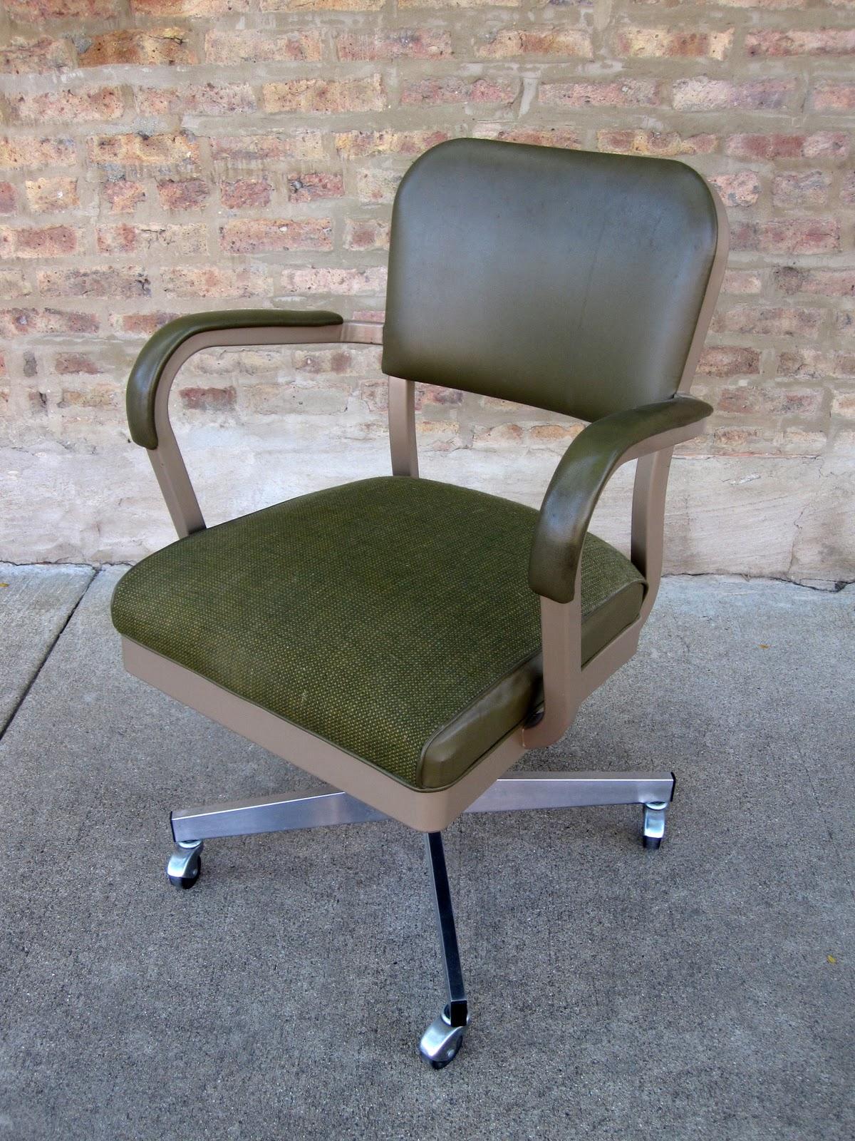 circa midcentury mid century rolling green desk chair