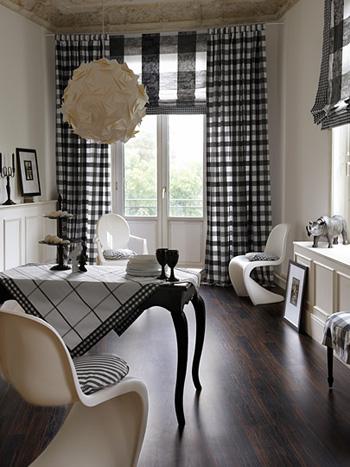 prend pour prtexte la dcoration dune salle manger pour prsenter toute une gamme de tissus objets dco et petits meubles en noir et blanc