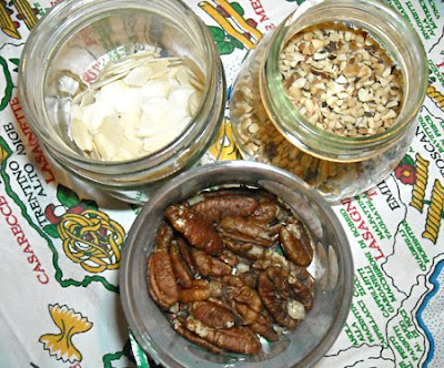 almonds, noisettes and walnuts