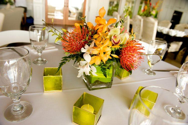 Tropical Centerpiecesmaui Wedding Reception Island Sunset Weddings