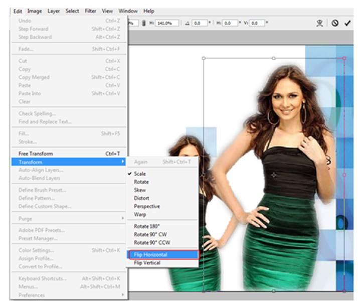 Cara untuk merubah arah gambar dengan cara pilihmenu edit, Transform ...