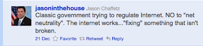 jasoninthehouse (Jason Chaffetz): Classic government trying to regulate Internet. NO to 'net neutrality'. The internet works...'fixing' something that isn't broken.