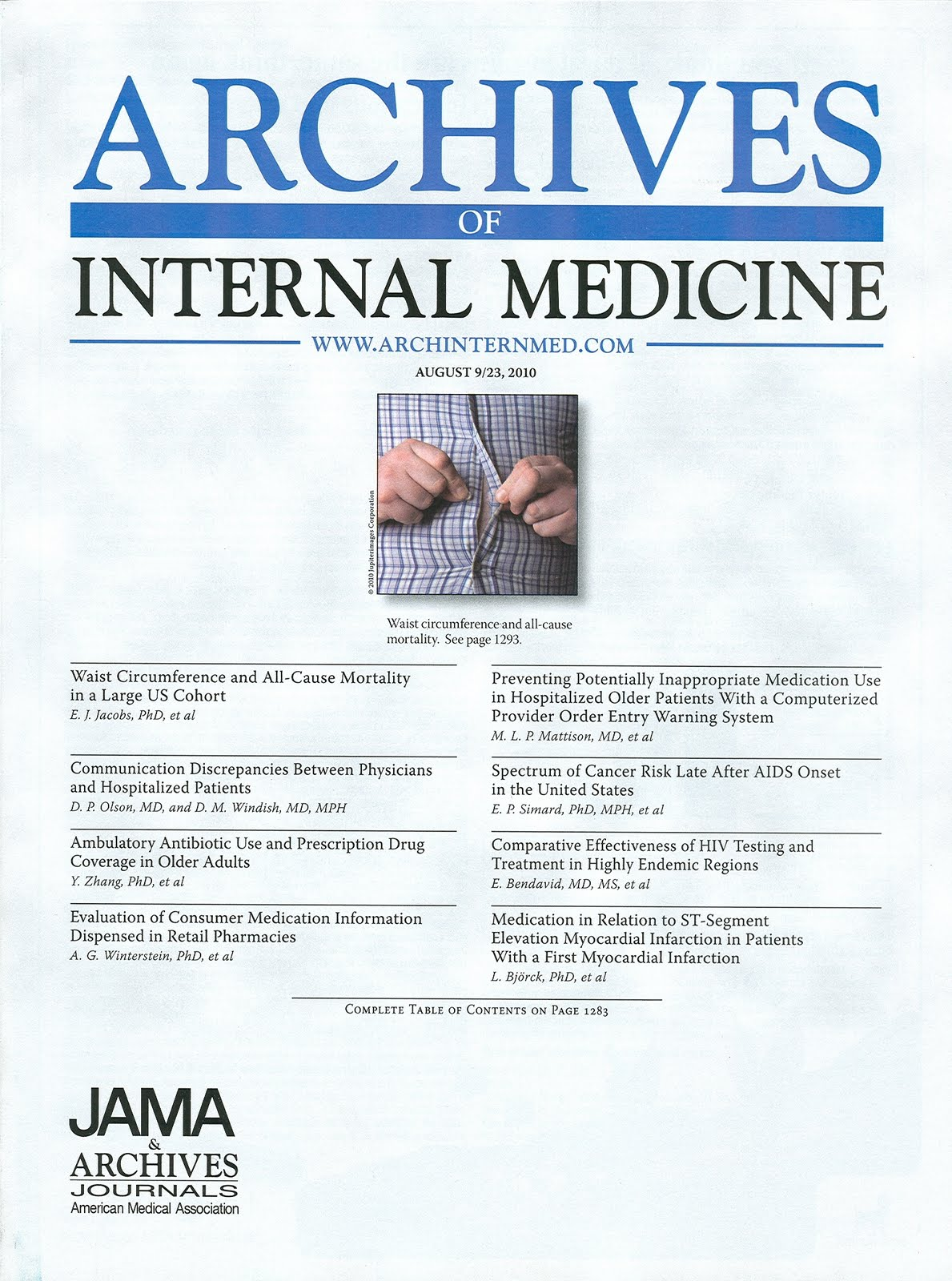 Archieves of Internal Medicine Cover