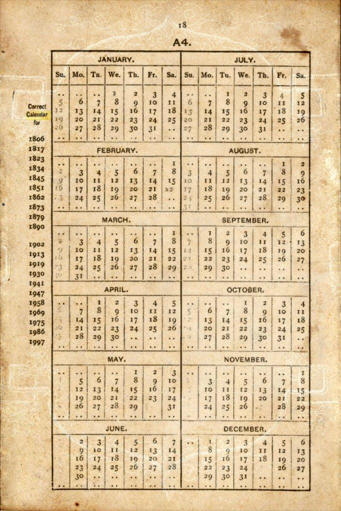 Year Calendar History : Multi year calendar works for history general