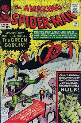 Amazing Spider-Man #14, the Green Goblin makes his debut, aided and abetted by the Enforcers, with a guest appearance in a cave by the Incredible Hulk, Steve Ditko cover