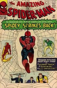 Amazing Spider-Man #19, Spider-Man swings out of the cover at us, the Sandman, Enforcers, Human Torch, Steve Ditko