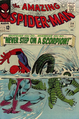 Amazing Spider-Man #29, Spidey thrashes around in the water as the Scorpion attacks, Steve Ditko cover