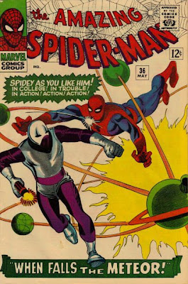 Amazing Spider-Man #36, the Looter throws a punch and hits Spidey in the jaw as our hero leaps at him, Steve Ditko cover