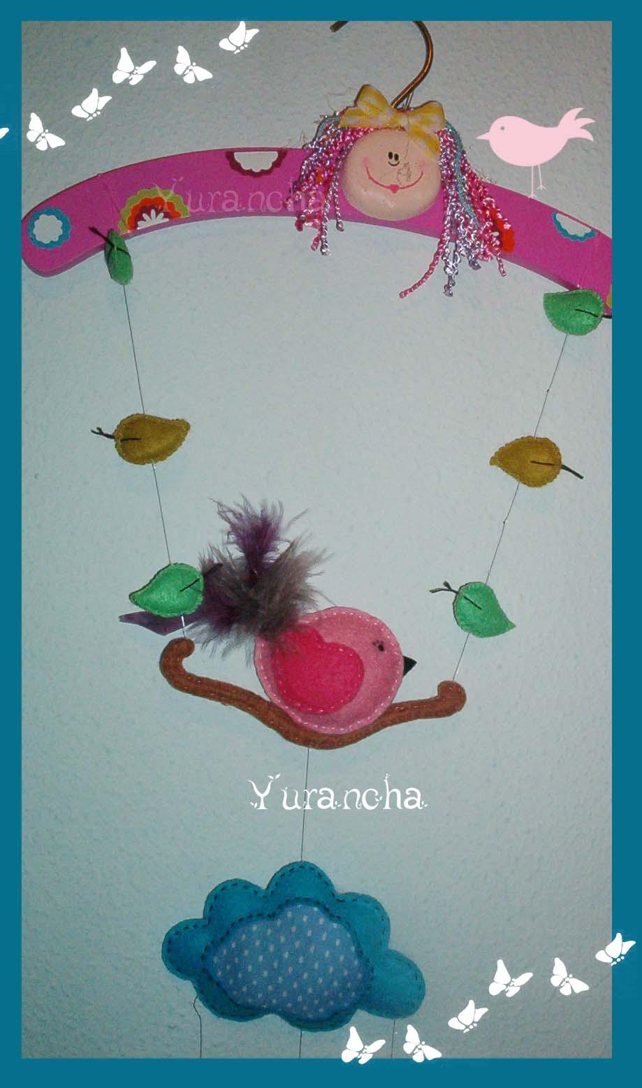 Yurancha: Movil de fieltro: Pajaritos en el columpio