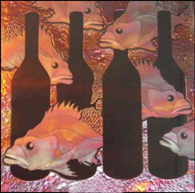 Rockfish & Wine Bottles, artwork by Todd Robinson, carved 6mil bronze glass