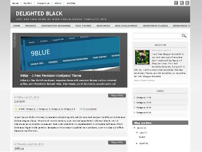 Delighted Black Blogger Template
