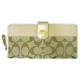 Coach Signature Gold Stripe Accordian Zip-Around Wallet