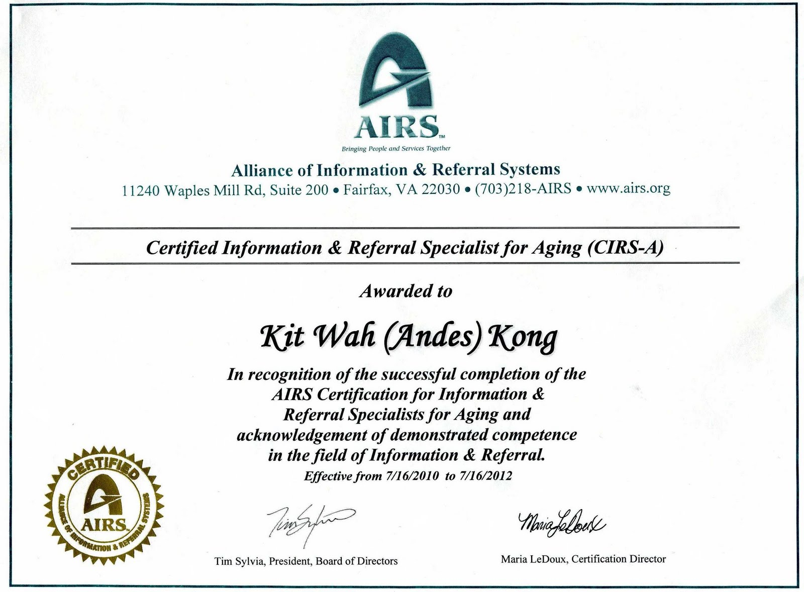 Chinese Information And Service Center Certified
