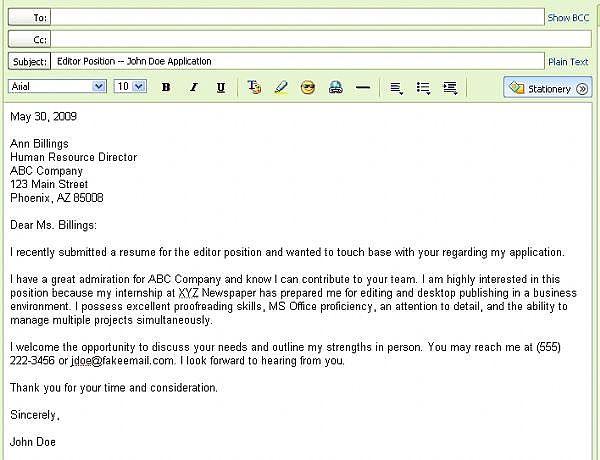 Email Resume Body Sample - Vosvete.Net