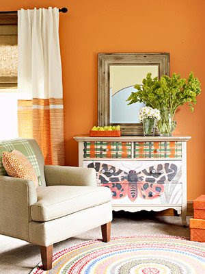 Home decor decorating in orange - Curtains with orange walls ...