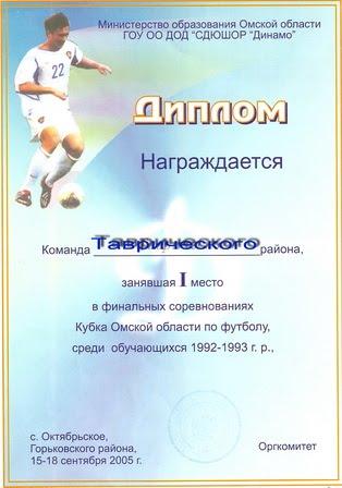 КУБОК ОБЛАСТИ. Горьковское - 2005.
