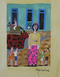 Mulher grande aquarela exposição povo popular