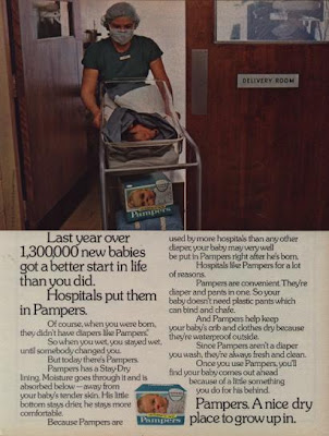 Pamper diaper throughout 1970s