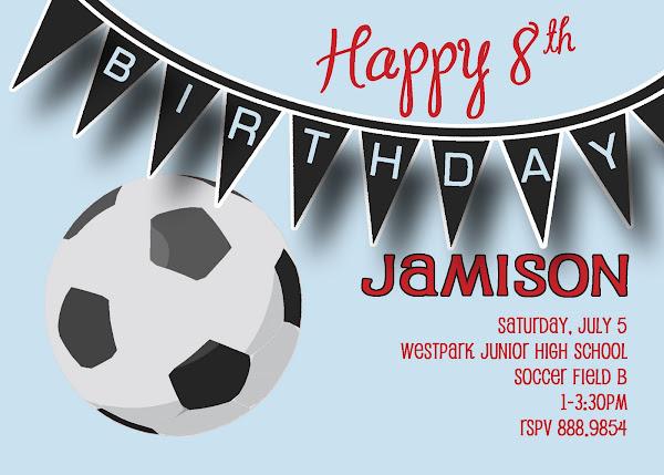 Soccer Ball Birthday Invitation