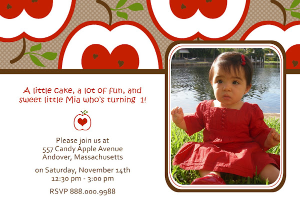 Candy Apple Red Birthday Invitation
