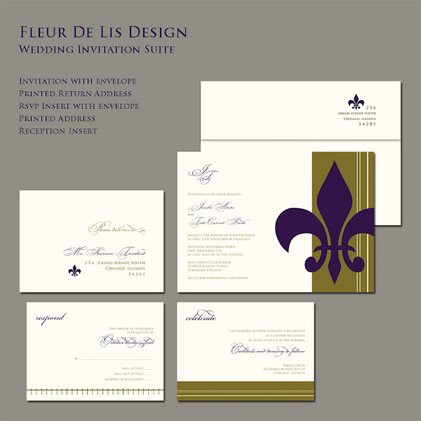 Fleur De Lis Wedding Invitation Suite