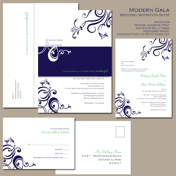 Modern Gala Wedding Invitation Suite