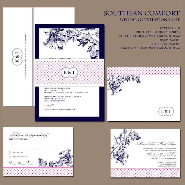Southern Comfort Monogram Wedding Invitation Collection