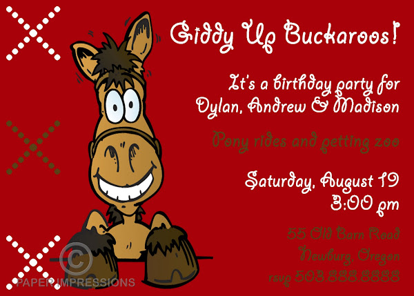 Buckaroo Birthday Invitation