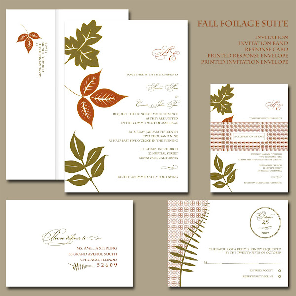 Fall Foliage Invitation Suite