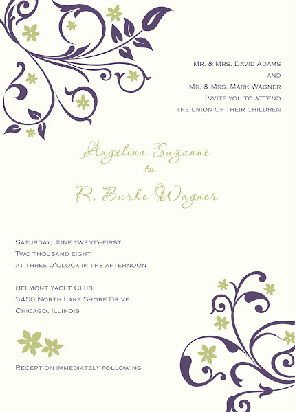 Flourish Blossom Wedding Invitation This design has a sage green and deep