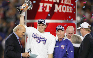 Eli Manning tightly grips the Lombardi trophy, but no one can ever take it away from him