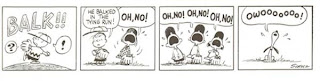 that trouble maker Snoopy was probably dancing off third base