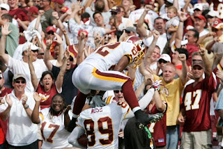 Antwaan Randle-El and Santana Moss celebrate the game-winning touchdown