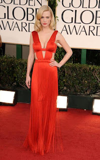 January Jones shows off her Golden Globes